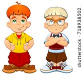 brothers are twins  a bully and ... | Shutterstock .eps vector #718938502