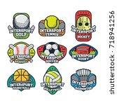 9 sport simple logo team vector | Shutterstock .eps vector #718941256