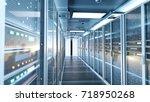 network server room with... | Shutterstock . vector #718950268