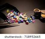 jewel or gems on black shine... | Shutterstock . vector #718952665