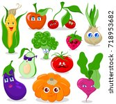 funny cartoon fruit and... | Shutterstock .eps vector #718953682