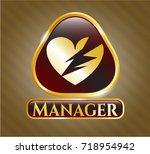gold badge with broken heart... | Shutterstock .eps vector #718954942