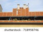 fragment of building in madrid .... | Shutterstock . vector #718958746