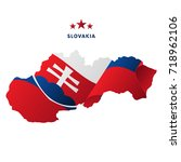 slovakia map with waving flag.... | Shutterstock .eps vector #718962106