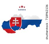 slovakia map with waving flag....   Shutterstock .eps vector #718962136