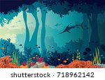 colorful coral reef  fishes ... | Shutterstock .eps vector #718962142