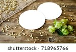 two blank beer coasters on... | Shutterstock . vector #718965766