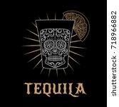 tequila bar logo. vector... | Shutterstock .eps vector #718966882