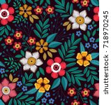 floral background in vintage... | Shutterstock .eps vector #718970245