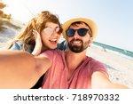 positive fun self portrait of ...   Shutterstock . vector #718970332