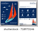 yacht club flyer design with... | Shutterstock .eps vector #718973146