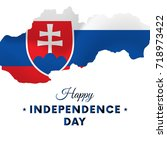 slovakia independence day.... | Shutterstock .eps vector #718973422