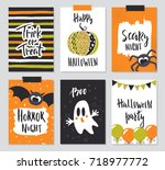 set of halloween hand drawn... | Shutterstock .eps vector #718977772