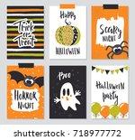 set of halloween hand drawn...   Shutterstock .eps vector #718977772