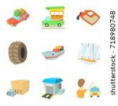 locomotion icons set. cartoon...   Shutterstock .eps vector #718980748