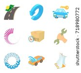 hijacking icons set. cartoon... | Shutterstock .eps vector #718980772
