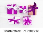 gift for a holiday or a festive ...   Shutterstock . vector #718981942