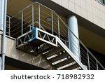 metal chrome ladder on the... | Shutterstock . vector #718982932