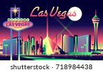 las vegas skyline | Shutterstock .eps vector #718984438