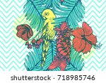 hawaiian style seamless pattern ... | Shutterstock .eps vector #718985746
