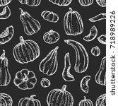 chalk drawing pumpkins.... | Shutterstock .eps vector #718989226
