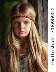 close up portrait of a... | Shutterstock . vector #718989352