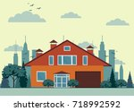 suburban house  cottage with... | Shutterstock .eps vector #718992592