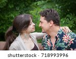 charming couple of a man and... | Shutterstock . vector #718993996
