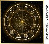 vector illustration of zodiac... | Shutterstock .eps vector #718994905