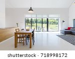 spacious and bright open space...   Shutterstock . vector #718998172