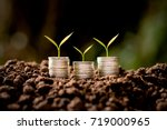 three rows of coins placed on... | Shutterstock . vector #719000965