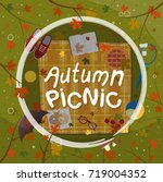 autumn picnic on nature vector... | Shutterstock .eps vector #719004352