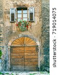 typical trentino village house... | Shutterstock . vector #719014075