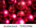 christmas red balls.   Shutterstock . vector #719015986