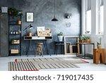 plant in metal bucket on black... | Shutterstock . vector #719017435