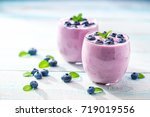 homemade  smoothie  with fresh  ... | Shutterstock . vector #719019556