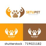 vector paw and people logo... | Shutterstock .eps vector #719021182