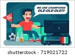 football sport fan  yell ... | Shutterstock .eps vector #719021722