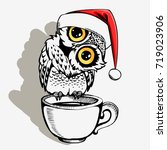 cute christmas owl with cup of... | Shutterstock .eps vector #719023906