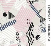 memphis seamless  pattern in...   Shutterstock .eps vector #719025256