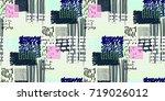 memphis seamless  pattern in... | Shutterstock .eps vector #719026012