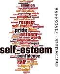 self esteem word cloud concept. ... | Shutterstock .eps vector #719034496