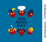 red nose card with characters ... | Shutterstock .eps vector #719043652