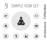 set of 9 fitness icons set... | Shutterstock .eps vector #719064862