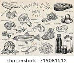 healthy food menu  avocado ...   Shutterstock .eps vector #719081512