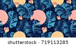 tropical plant seamless pattern ... | Shutterstock .eps vector #719113285