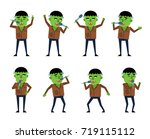 set of zombie characters posing ... | Shutterstock .eps vector #719115112