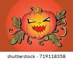 halloween pumpkin | Shutterstock .eps vector #719118358