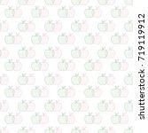 seamless green   red apple... | Shutterstock . vector #719119912