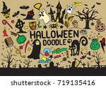 a collection of hand drawn... | Shutterstock .eps vector #719135416